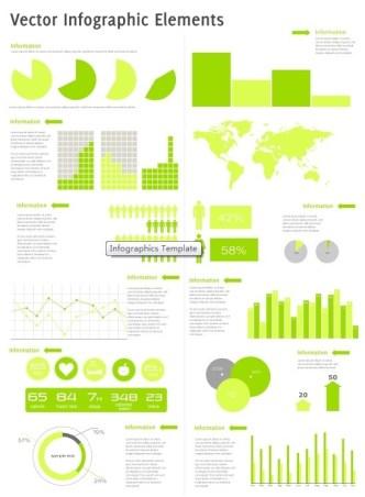 Flat Green Infographic Kit Vector