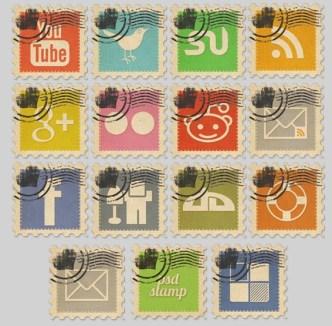 Vintage Stamp-Like Social Media Icons
