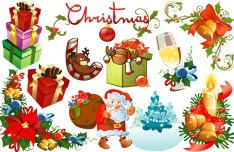 Set Of Vector Merry Christmas Design Elements