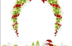 Christmas Wreaths with Ribbons and Bows Vector 01