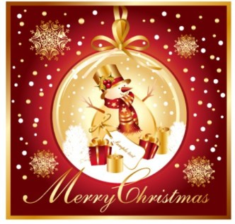 Golden Merry Christmas Card Template Vector