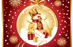 Golden Merry Christmas Card Template Vector