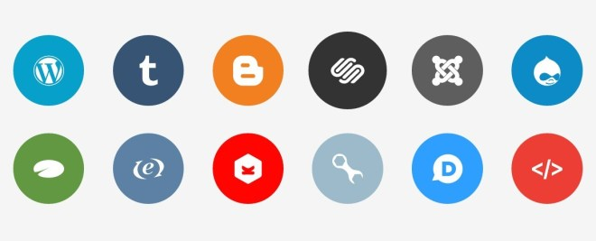 Publicons - 12+ Flat CMS and Blog Platform Icons