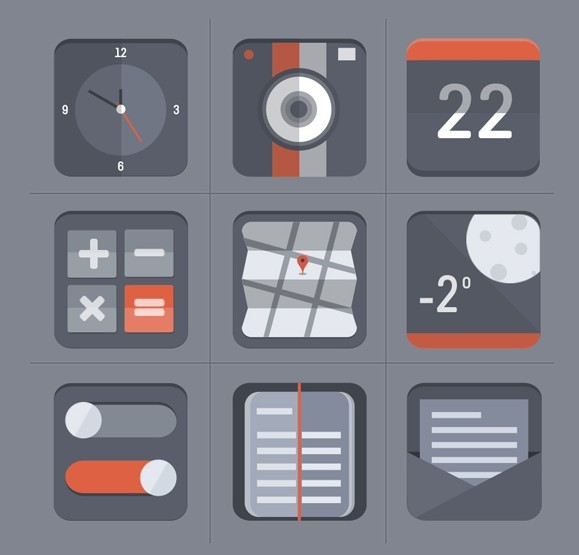 Flat Grey Web Icon Set PSD