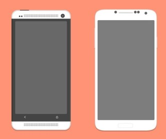 White HTC One and Galaxy S4 PSD Mockups