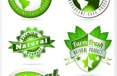 BIO & Natural Product Badge Icons Vector 01