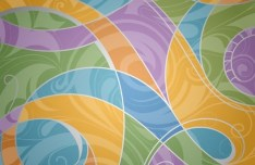 Colorful Floral Swirls Vector Pattern