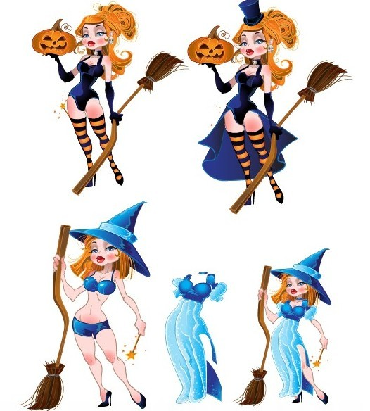 Set Of Vector Cartoon Sorceress Illustration