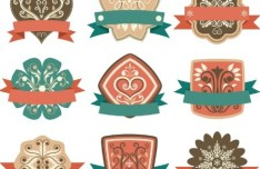 Set Of Vector Flat Designed Floral Badge Stickers