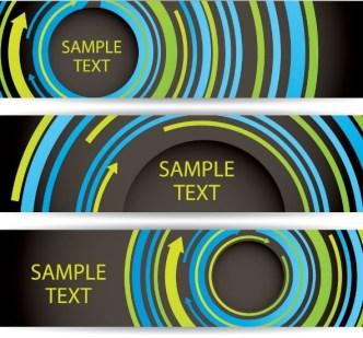 Colorful Circular Arrows Banner Templates Vector 02