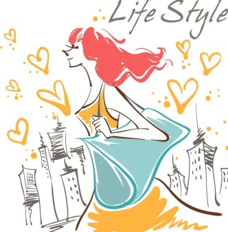 Vector Fashion City Girl Illustration 03