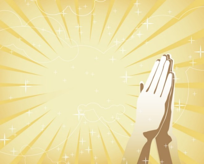 Clasped Hands With Sunshine and Star Background Vector