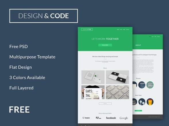 Flat and Responsive Code & Design Website Template PSD