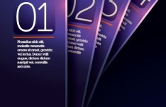 Vector Dark Purple Vertical Banners with Numbers 01