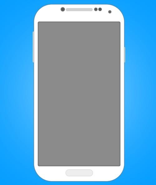 White Flat Samsung Galaxy S4 PSD Mockup