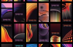 Set Of Vector Dark Business Card Templates with Abstract Backgrounds