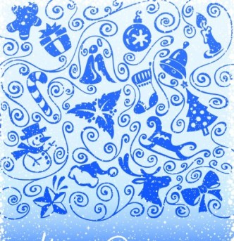 Vector Vintage Blue Merry Christmas Decorative Patterns