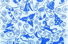 Vector Vintage Blue Merry Christmas Decorative Patterns