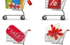 Fashion Shopping Bags Shopping Carts Vector 01
