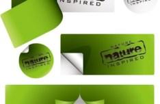 Green Paper Stickers Vector
