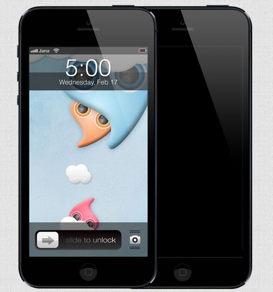 High Quality Black iPhone 5 Template PSD