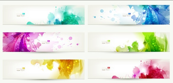 Free Set Of Clean Banner Templates with Colorful Leaf ...