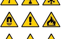 Yellow and Black Warning Signs Vector 02