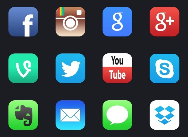 12+ New iOS 7 Style Social Media APP Icons
