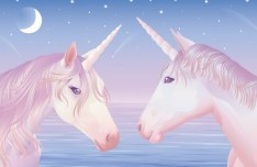 Pink Unicorns Vector Illustration