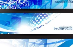 Set Of Bright Blue Abstract HI-Tech Banners Vector 02