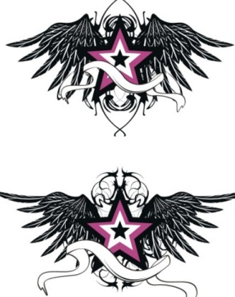 Black Star and Wing Designs Vector 02