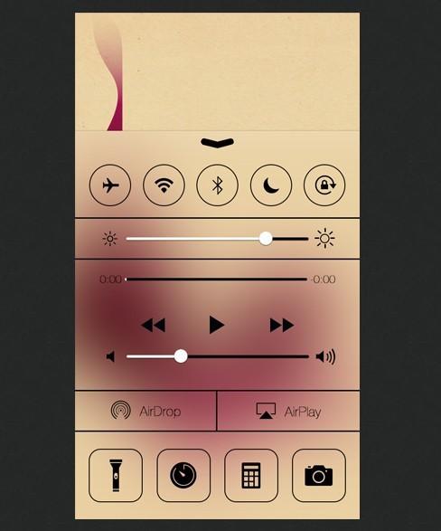 Golden New iOS 7 Control Center PSD