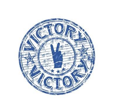 Vintage Vector Blue Victory Seal