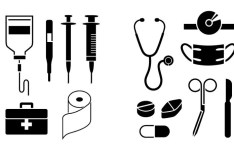 Black Medical Icons Vector