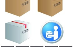 Brown Corrugated Boxes and Stickers Vector