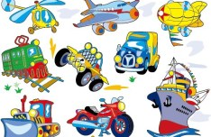 Cute Cartoon Transportation Icons Vector 03