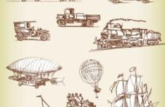 Set Of Vector Vintage Old Transport 02