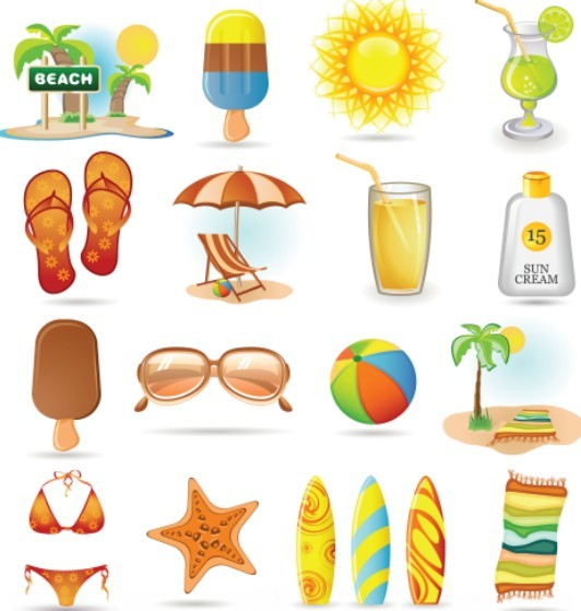 Summer Holiday Vacation Vector Icons Pack
