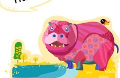 Cute Cartoon Hippo Vector Illustration