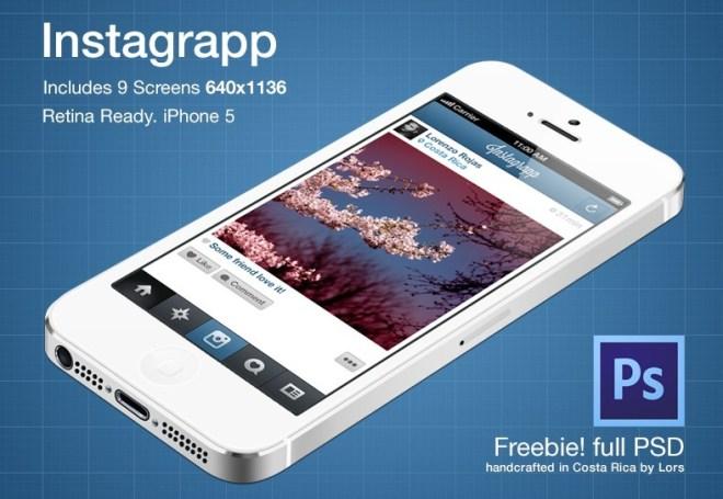 Retina Ready iPhone 5 Instagrapp GUI PSD