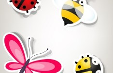 Set Of Cute Cartoon Insects Vector 01
