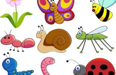 Set Of Cute Cartoon Insects Vector 02