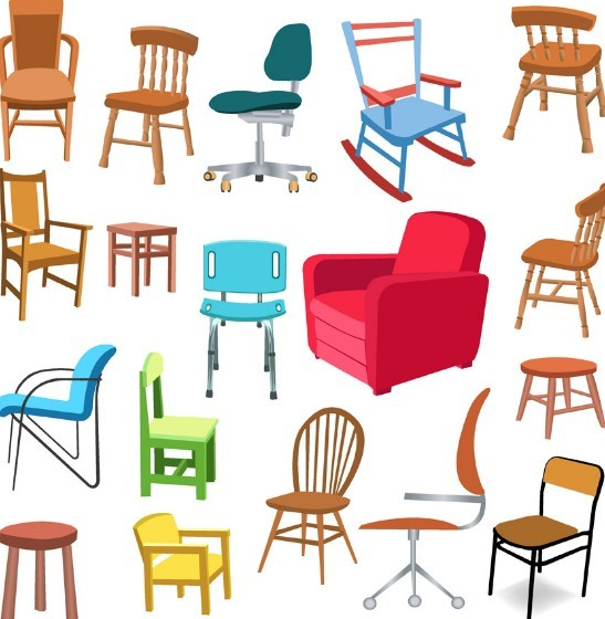 Set Of Vector Furniture Design Elements 03