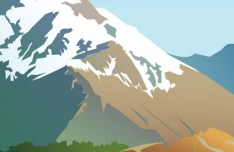 Forests and Snow-Capped Mountains Illustration Vector 03