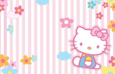 Pink Hello Kitty Stripe Background Vector