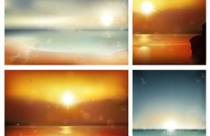 Set Of Vector Sun and Halos Backgrounds