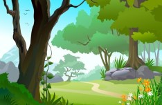 Vector Forest Landscape Illustration 05