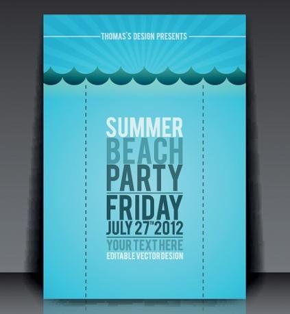 Vector Summer Beach Party Flyer Template 03