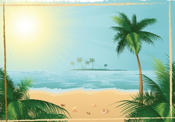 Vector Summer Sun Beach 02