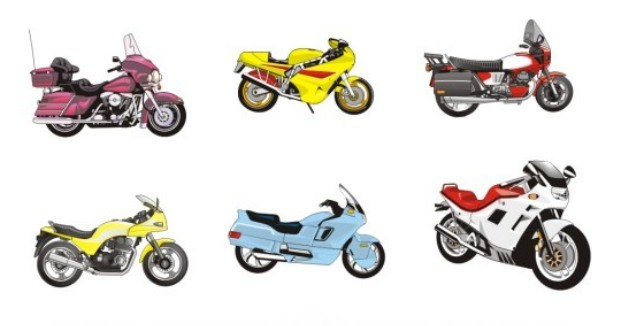 Set Of Simple Vector Motorcycle Icons